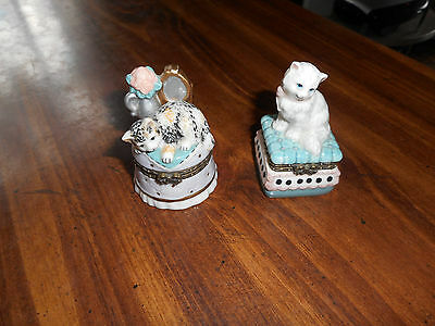 Lot Of - 2 -Kitty Trinket Boxes By Westland1998