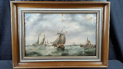 Original Antique 19th Century oil painting canvas European Seascape Marine Ships