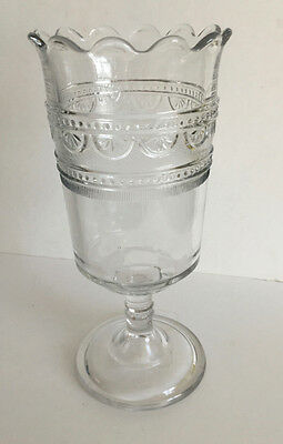 Vintage EAPG Clear Glass with Ornament Celery Vase