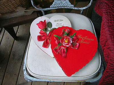 2 Vtg 1980's Valentine's Day Candy Boxes - Elmer Candy Co +Zachary Confections