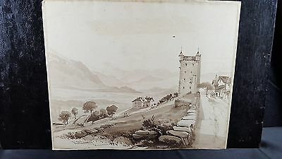 Original Antique 19th Century Drawing brown ink wash French Mountain Town Tower