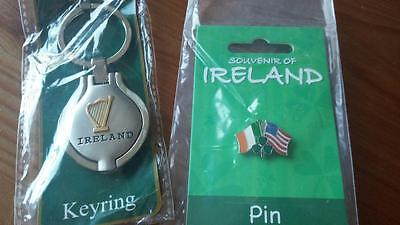Pewter Locket Ireland Key Ring Keychain with mirror + free pin