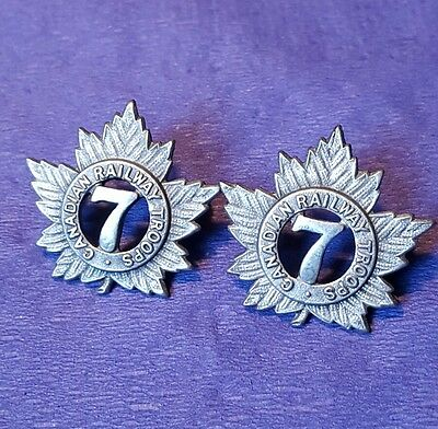 7th Canadian Railway Troops Officers Collar Badges