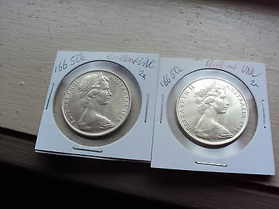 2 (two) UNC 1966 Round 50 Cent Coins (2x)