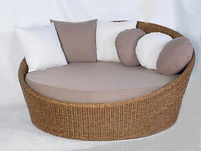 Wicker Outdoor furniture Daybed Sofa Lounge Round Natural look Rattan Sunlounge