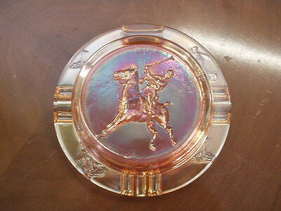 Vintage Marigold Carnival Polo Ashtray with match stand - Polo Player and Horse