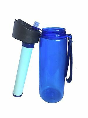 Survivor PORTABLE WATER FILTER 600ml BOTTLE Water Purifier Bottle Australia