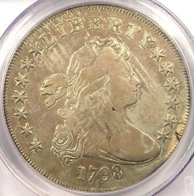 1798 Draped Bust Silver Dollar $1 - Certified PCGS Genuine - Fine / VF Details!
