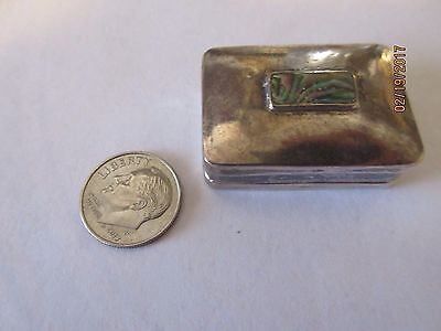 Antique Sterling Silver Mexican Pill Box With Lovely Inlaid Top, Signed!