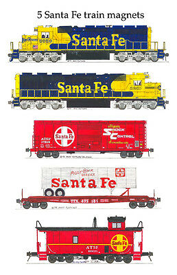Santa Fe Locomotives and Train 5 magnet set Andy Fletcher