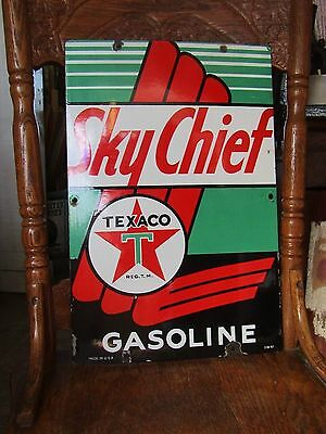Texaco Sky Chief Porcelain Advertising Sign 3-10-1947 Gas Pump Plate