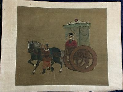Original Vintage 20th Century Chinese Watercolor Silk Horse Cart Man Woman