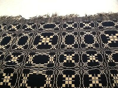 "ANTIQUE BLUE & CREAM WOVEN COVERLET TWO PANEL HAND LOOMED REVERSIBLE 80"" x 80"""""