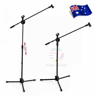 Adjustable Telescopic Boom Microphone Stand Mic Holder Tripod Two Clip 1 to 2 M