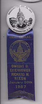 Eisenhower  1957  Inaugural  Button  With  Inaugural  Ribbon