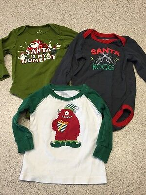 Boy Girl Unisex Christmas Onesie Shirt Lot Of 3 6-12 Months 9 Months 12-18 Month