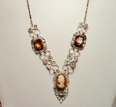 Vtg Victorian Sterling Cannetille  Shell Cameo Necklace With 2 Lg Citrine Stones