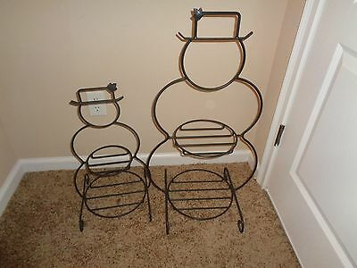 Longaberger Wrought Iron Large and Small Snowman Stands---EUC!!!!