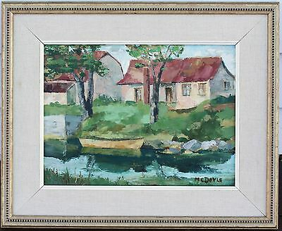 "il Painting On Canvas - ""Old Laclive Canal"" Landscape - Signed ""McDoyle"""