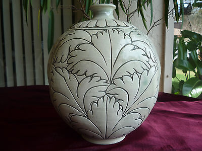 Gorgeous Korean Buncheong Incised Peony Sgraffito Pottery Flask Signed!!
