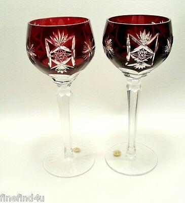 2 Bohemian Poland Wine Hock Goblet Cut to Clear Glass Ruby Red Zipper Stem