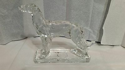 stunning solid clear glass afgan hound or grey hound figurine