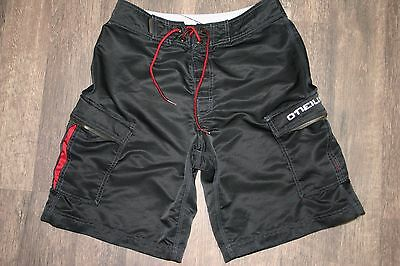 O'Neill Oneill Black Red Cargo Board Shorts Swim Trunks Swimsuit  Size:28