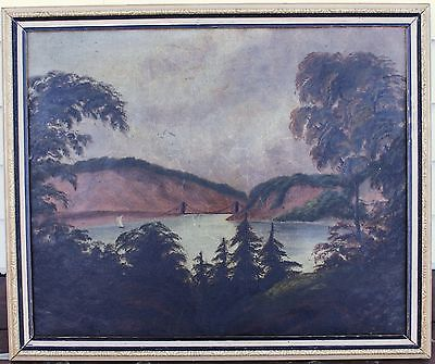 Antique Oil Painting On Board - English Lake With Distant Bridge - Circa 1800s