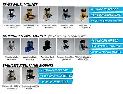 Brass Panel Wall Mounts 13mm Dia 19mm Projection