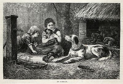 Dog English Setter Mother Shares Her Puppies with Children, 1880s Antique Print