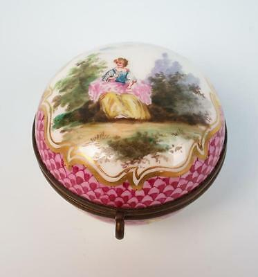 Antique Marc Eugene Clauss Paris Porcelain Trinket Box Portrait French Old Puce