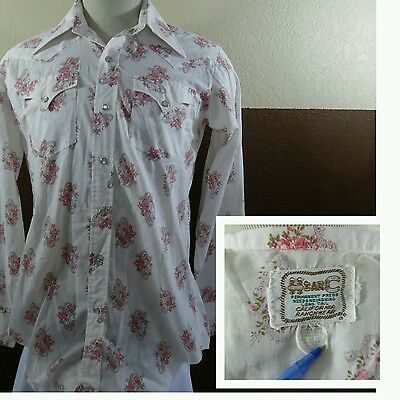 Vtg 1960s H Bar C White & Pink Floral Pearl Snap Men's Rockabilly Western Shirt