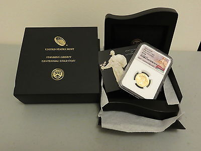 2016-W 1/4oz Gold Standing Liberty Quarter 100th Centennial NGC SP69 ER with OGP