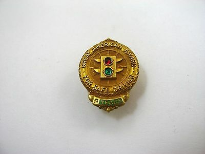 Rare Vintage Collectible Pin: Great American Indemnity Safe Driving Award