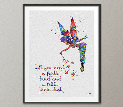 Tinker Bell Watercolor Painting Print Archival Fine Art Print Nursery Wall Decor