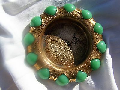 Fisher Jewel Tray, Brass Dish with Vintage Green Marbles, Fair Souvenir, 1930's