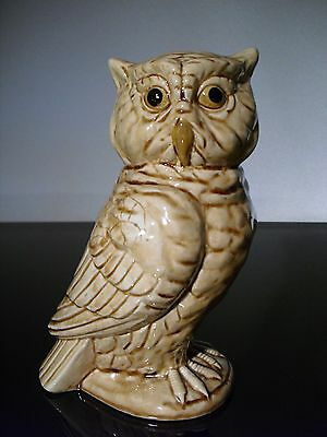 "Vintage 7-1/2"" Tall Norleans Ceramic Glass Owl Bird Figurine Made in Japan"