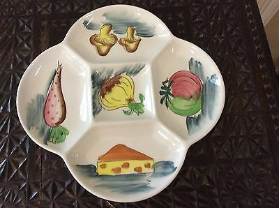 Divided serving Platter Vintage 70s Japan ironstone Hand Painted nibbles dish