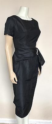 Vtg 50s Black Silk Draped Couture Fitted Wiggle Rhinestone Dress Marilyn Vlv