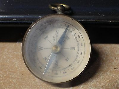 Vintage Brass & Plastic Pocket Watch Compass