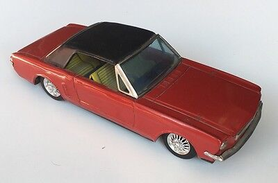 1960s Vintage Bandai Ford Mustang Tin Litho Friction Red Card Excellent Shape