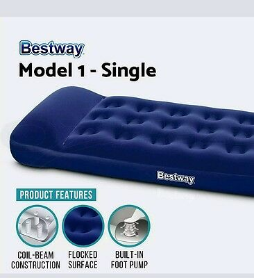 Bestway Air Bed Inflatable Mattress Pump Flocked Home Camp