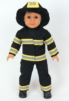 """Fire Fighter Fireman Costume for American Girl or Boy 18"""" Doll Clothes LOVVBUGG!"""