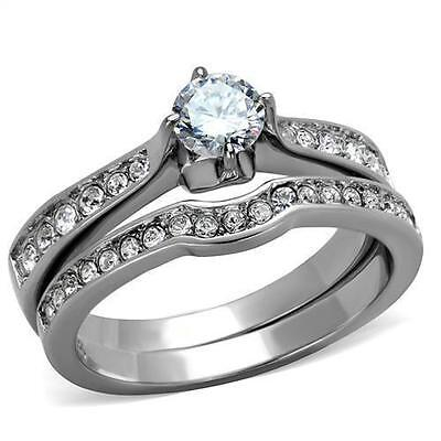 Silver Stainless Steel Simulated Diamond Engagement 2 Ring Set Size 8 9 10 P R T