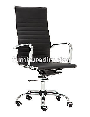 Modern High Back Executive Office Chair Faux Leather Computer Desk Chair Black