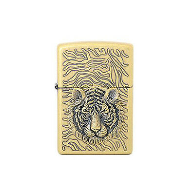 Tiger EYE Emblem Gold Zippo Lighter Windproof Made in USA GENUINE Packing