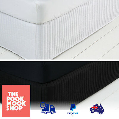 Quilted Valance White-Black Sheet Divan Wrap Bed Drapery Base Canopy Rib Edge