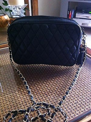 Vintage Black Leather Small Quilted Handbag with tassel and Chain Detail