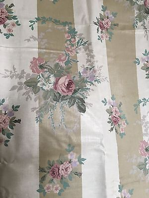 Vintage Fabric Laura Ashley Isabelle Pink Rose Taupe Stripe 100% Cotton