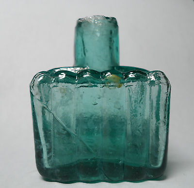 Post Civil War Era Green Glass Ink Bottle 3 Ridge Sided Square Shape